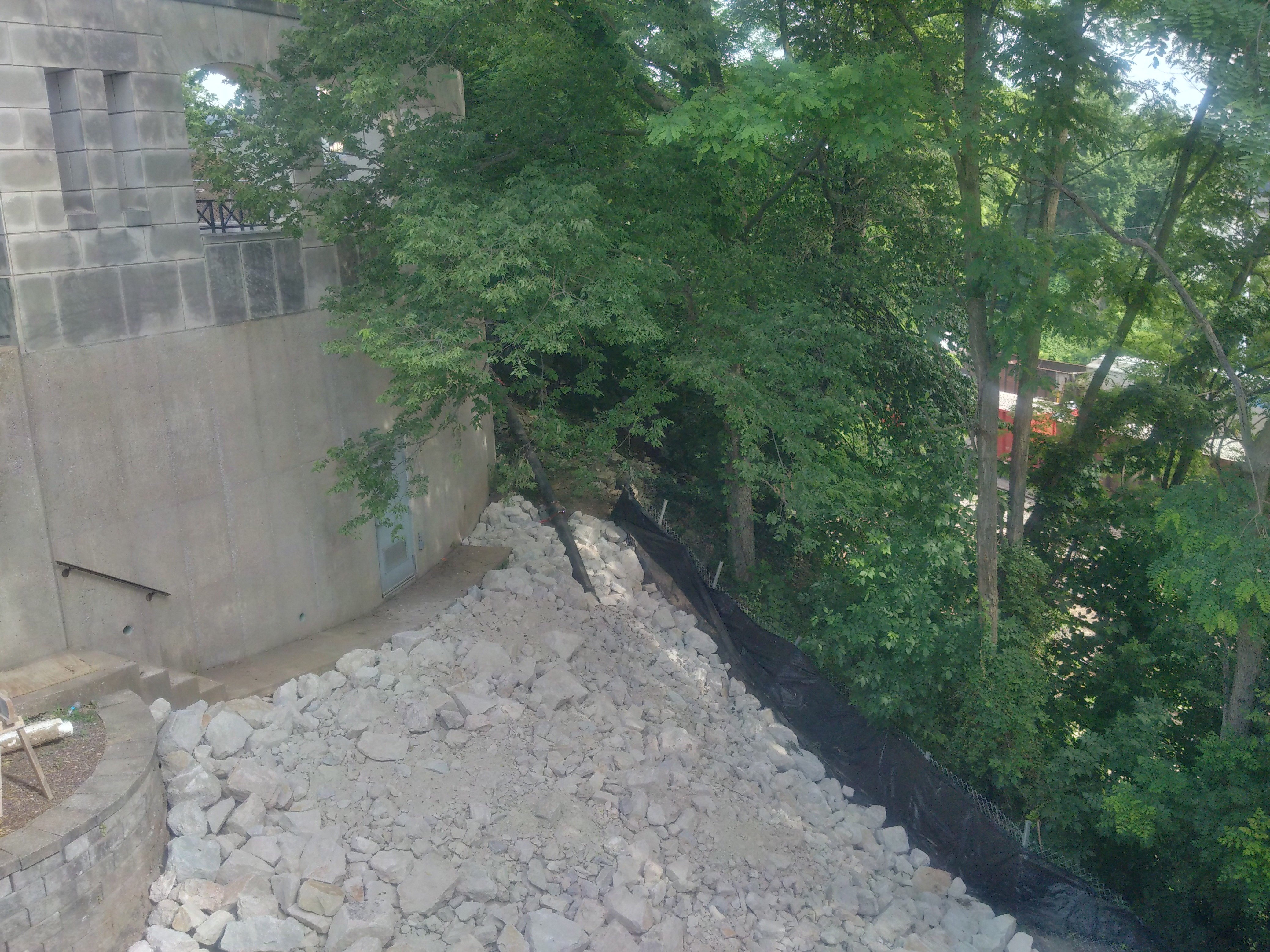 Erosion Control Behind Veterans Memorial - June 2018