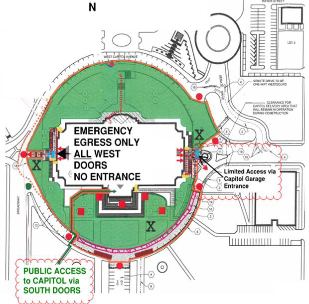 Capitol Public Entrances & Traffic Logistics Diagram